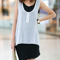 White and Black Color Block Sleeveless Dress