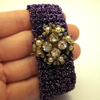 Vintage Brooch on Purple Crochet Bracelet Wedding favors, bridal jewelry