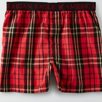 AEO Men's Plaid Boxer (Red)