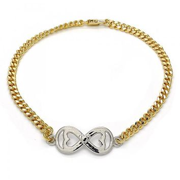 Gold Layered 03.63.1836.10 Fancy Anklet, Infinite and Heart Design, Polished Finish, Two Tone