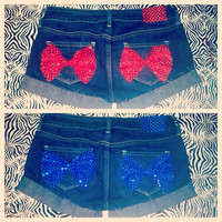 Blue and Red Sequin Bow Denim Shorts  by AngeliqueMerici on Etsy