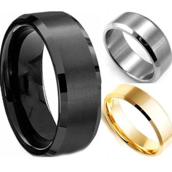 2015 new fashion cool simple men ring black gold silver 3 colors stainless steel male finger - Cool Wedding Rings