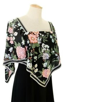 Vintage Maxi Dress 70s Floral Hankie Dress Angel Sleeve Hanky Disco Dress size Medium Empire Waist Dress