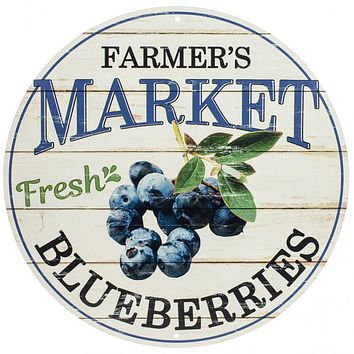 "Farmer's Market Fresh Blueberries Round 12"" Sign"