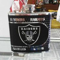 NFL Oakland Raiders 6oz Stainless Steel Flask with 360 Hi-Def Metallic Wrap