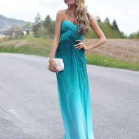Custom Made A line Sweetheart Ombre Chiffon Long Prom Dresses, Bridesmaid Dresses, Formal Dresses, Evening Dresses