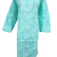 Mogul Interior Womens Turquoise Cotton Tunic Floral Embroidered Caftan Dress XL: Amazon.ca: Clothing & Accessories
