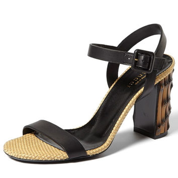 Gucci Dahlia Black Leather Bamboo-Heel Sandal