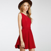 Red Sleeveless Waist Ruched Wrap Flounce Chiffon Mini Dress
