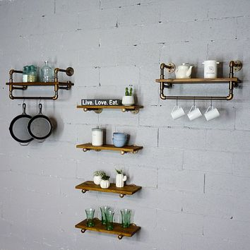 Sarasota Farmhouse Industrial 6-Piece Shelf Rack Wall Shelf Bundle