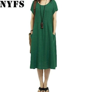 ESBU3C 2017 New summer dress loose plus size Vintage Style Cotton Linen Fold women Dress Vestidos Robe