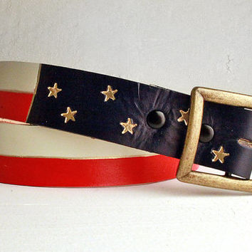 Custom Leather American Flag Belt / Custom Leather Texas Flag Belt / Custom Fathers Day Gift / Red White and Blue
