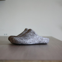 Felted wool clogs - slippers for women or men - natural house shoes - a pair in size US9, EUR 40, UK 6.5 is ready to ship - fathers day gift