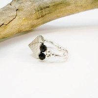 Silver and Black Cocktail Stretch Ring, Silver Band, Black Swarovski Crystal, Dome Ring