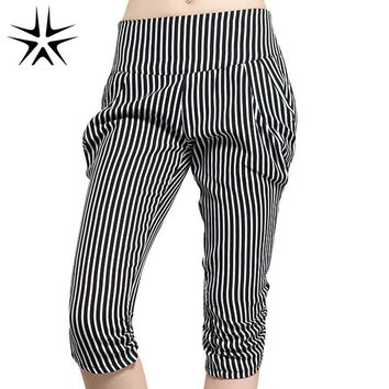 2016 New Large Size L-5XL Lady Classic Short Striped Harem Pants Super Fashion Women Thin Desire Capris