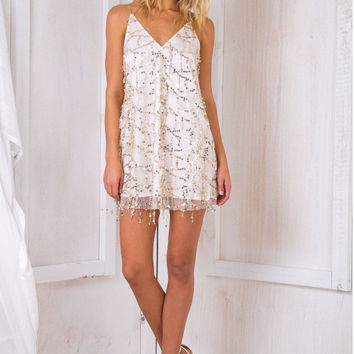 White V-Neck Spaghetti Strap Sequined Embellished Mini Dress