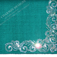 JCD-Just Charmin Designs- Teal Wool Crystal Bling Rhinestone Horse Show Saddle Blanket Pad 4-Western Shirt Rodeo Showmanship Barrel Racing