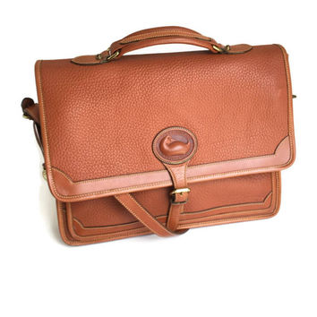 Dooney and Bourke Surrey Briefcase in British Tan, Vintage Dooney, Dooney Laptop Bag, Dooney Messenger Bag, All Weather Leather Briefcase