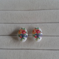 flower porcelain cameo post stud  earrings