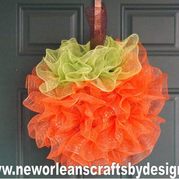 Pumpkin Deco Mesh Ruffle Wreath