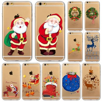 Christmas Cover For iPhone Soft Phone Case 6 6S 5 5S SE 6Plus 6SPlus 5C 4 4S