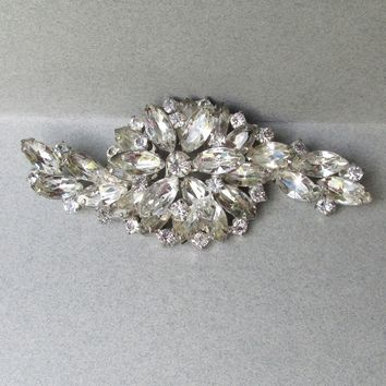 "Massive Unsigned WEISS Big Marquise Crystal Rhinestone Flower Pin, 4"" Brooch"