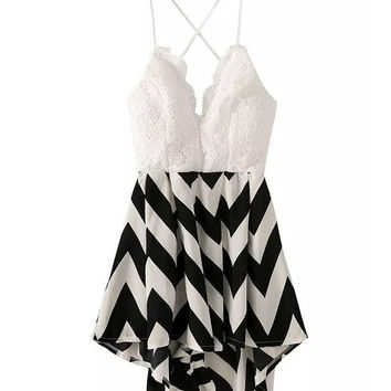 Black & White Geometric Print Bare Back Chiffon Dress