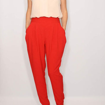 Red Harem Pants for Women Double Draped Pockets