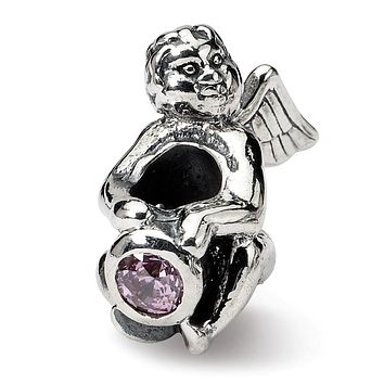 Sterling Silver October CZ Birthstone, Angel Bead Charm
