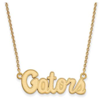 NCAA 10k Yellow Gold U of Florida Small 'Gators' Pendant Necklace