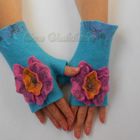 Felted wool fingerless gloves , felted mittens light blue orchid ready to send