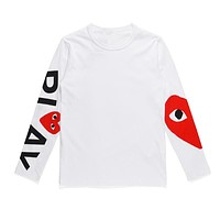 PLAY Tide brand love men and women with round neck cotton long-sleeved T-shirt white