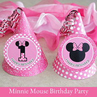 Minnie Mouse Birthday, Minnie Mouse Hat printable, Party Hat Printable, Minnie Mouse Party Printable, 1st Birthday Party Hat