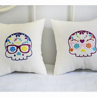 Set of 2 Sugar skull pillows, Mr & Mrs Skull Pillows, embroidery gift pillow, Day of the Dead ,Halloween pillow, sugar skull pillow