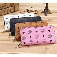 MCM Popular Women Leather Zipper Wallet Purse Cosmetic Bag