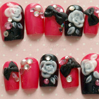 Japanese nail art, 3D nails, deco, black, white, hot pink, bows, gems, rhinestones, prom nails