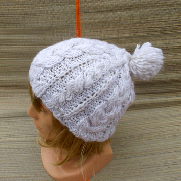 hand knitted white pom pom hat, knitted cable hat, white snow hat, knit women's beanie, knitting girl's cap, handmade accessories, knit hat