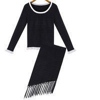 Tassel Round Neck Long Sleeve Knit Paige Two-piece Outfits