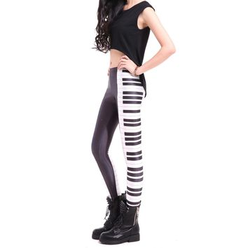 Piano Musical Keys Seams Digital Print Legging Pants for Women in Black and White