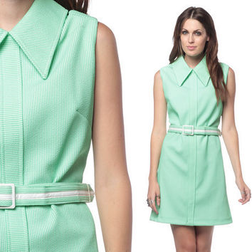 Mod Collar Dress 60s Mini Mint Green 1960s Belted Space Age Sleeveless Gogo Shift Sixties Vintage Peter Pan Collar Minidress Extra Large XL