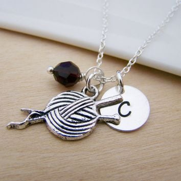 Knitting Crochet Yarn Sewing Charm Swarovski Birthstone Initial Personalized Sterling Silver Necklace / Gift for Her