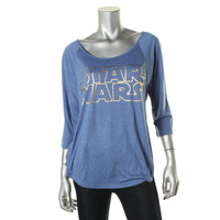 Star Wars Womens Juniors Jersey Foil Graphic Graphic Tee