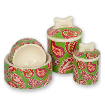 Palm Beach Paisley Bowls and Treat Jars Collection
