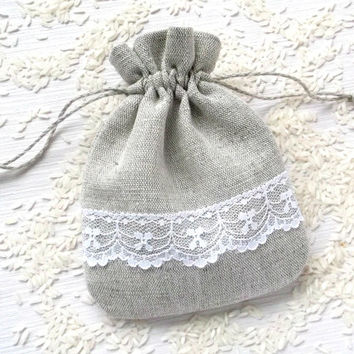 10 Natural wedding favor bags Small grey linen white lace drawstring gift pouch Keepsake storage bag