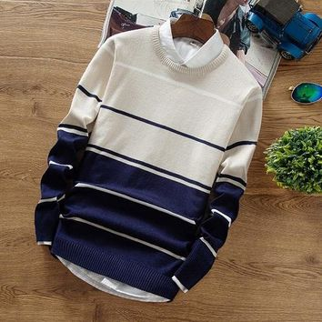 Men's O-Neck Striped Sweater Up To 3XL