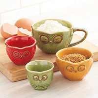 Measuring Cup Set Owl Storage Kitchen Retro Vintage Boho Ceramic 4 Pc