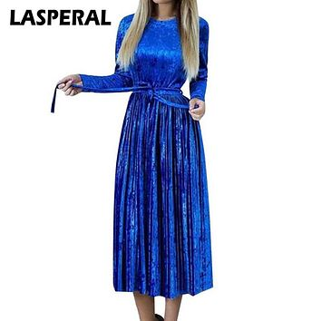LASPERAL Women Maxi Long Casual Velvet Dress Female Autumn Green Blue Long Sleeve A-line Vintage Elegant Pleated Party Dresses