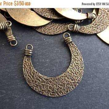 SUMMER SALE NEW Double Sided Tribal Crescent Pendant Connector Antique Bronze Plated Turkish Jewelry Making Supplies Findings Components - 1