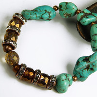 Beaded Stretch Bracelet With Turquoise Nugget Beads And Czech Glass Beads - Beaded Jewelry