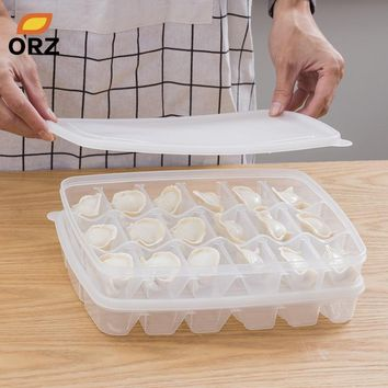 ORZ Kitchen Dumplings Food Storage Box Refrigerator Sushi Food Container with Lid Home Storage Holder Bin Kitchen Orgainzer